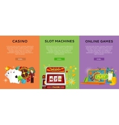 Casino Gambling Website Templates Set vector