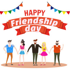 Celebrating group of happy friends enjoying vector