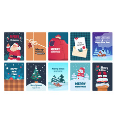 christmas greeting cards holiday postcards santa vector image