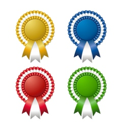 Colored rosettes with ribbon vector
