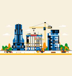 Construction site in city between city vector