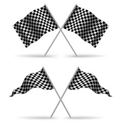 Cross finish flags with shadow isolated on a white vector