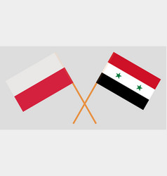 Crossed flags of syrian arab republic and poland vector