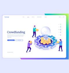 crowdfunding isometric landing money donation vector image