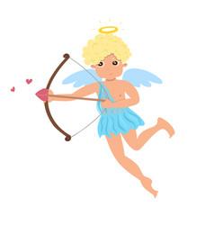 Cupid shoots from a bow isolate on a white vector