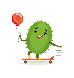 Cute cactus skateboarder funny plant character vector