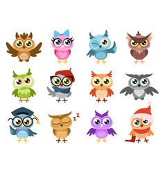 Cute owls colorful friendly owl birthday kids vector