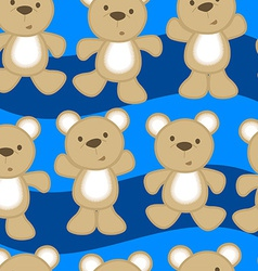 Cute teddy bears in a seamless pattern vector
