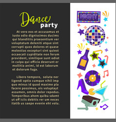 dance party night club poster disco ball and vector image