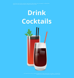 drink cocktail poster bloody mary and whiskey cola vector image