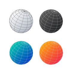 earth globe set planet in different colors vector image