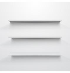 Empty white shelves on light grey background vector image