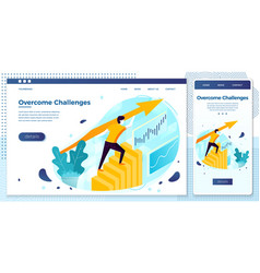 eps man overcome challenges profit stats vector image
