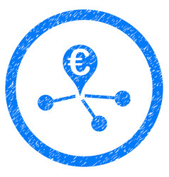 euro bank branches rounded icon rubber stamp vector image