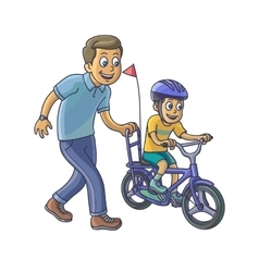 Father learn his little son to ride a bicycle vector