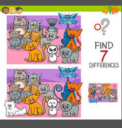 Find differences game with cats animal characters vector