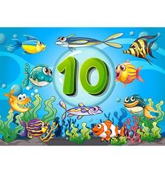 Flashcard number ten with 10 fish underwater vector