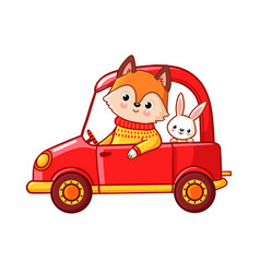 Fox with a hare ride on a red car vector
