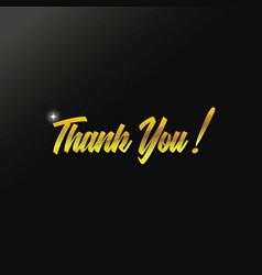 gold thank you text design vector image