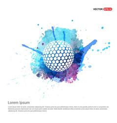 Golf ball icon - watercolor background vector