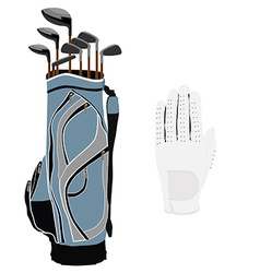 Golf clubs bag and white glove vector