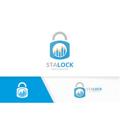 graph and lock logo combination diagram vector image