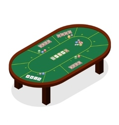 Green poker table isometric view vector