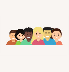 group of cartoon face young people set vector image