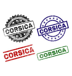 Grunge textured corsica stamp seals vector