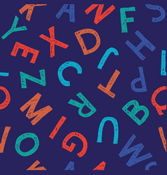 Hand-drawn seamless pattern with alphabet vector