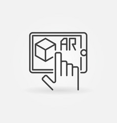 Hand with tablet linear icon - augmented vector