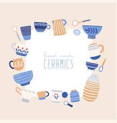 handmade ceramics flat vector image