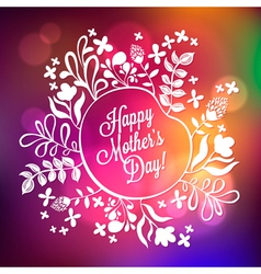 Happy Mothers Day Floral Wreath Blurred Background vector image