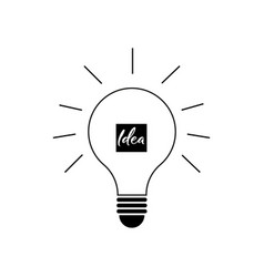 idea icon in flat style light bulb line icon vector image