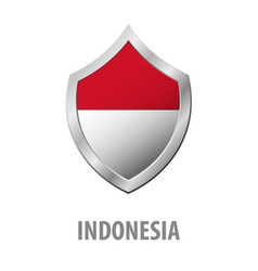 indonesia flag on metal shiny shield vector image