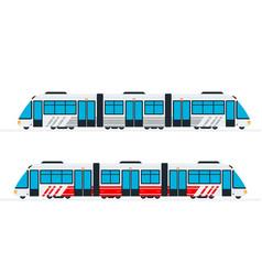 Intercity passenger train flat isolated vector