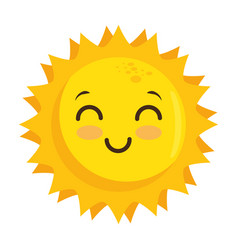 isolated yellow kawaii sun face vector image