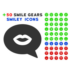 lips smiley message icon with bonus mood clipart vector image