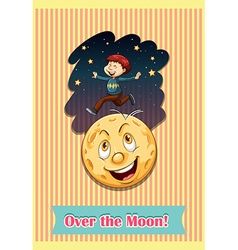 Man over the moon vector image