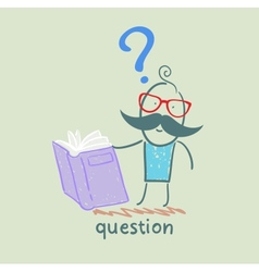 Man with a question mark reads the book vector