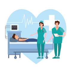 medical team nurse and doctor consulting patient vector image