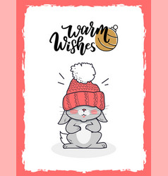 merry christmas postcard warm wishes with bunny vector image