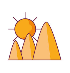 Mountains in the desert with sun vector