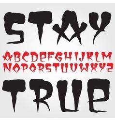 Old school hardcore font vector