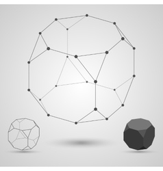 Outline of the polyhedron on a gray background vector image