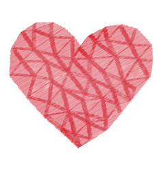 pink heart of triangles and stripes texture vector image