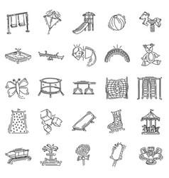 Playground kids icon set vector
