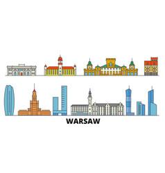 Poland warsaw flat landmarks vector