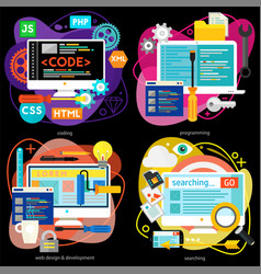 Programming and development analytics and coding vector