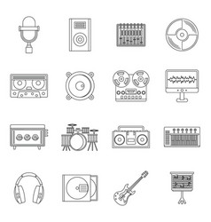 Recording studio items icons set outline style vector